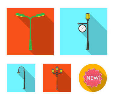 Lamppost in retro style,modern lantern, torch and other types of streetlights. Lamppost set collection icons in flat style vector symbol stock illustration web.