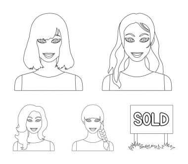 Types of female hairstyles outline icons in set collection for design. Appearance of a woman vector symbol stock web illustration.