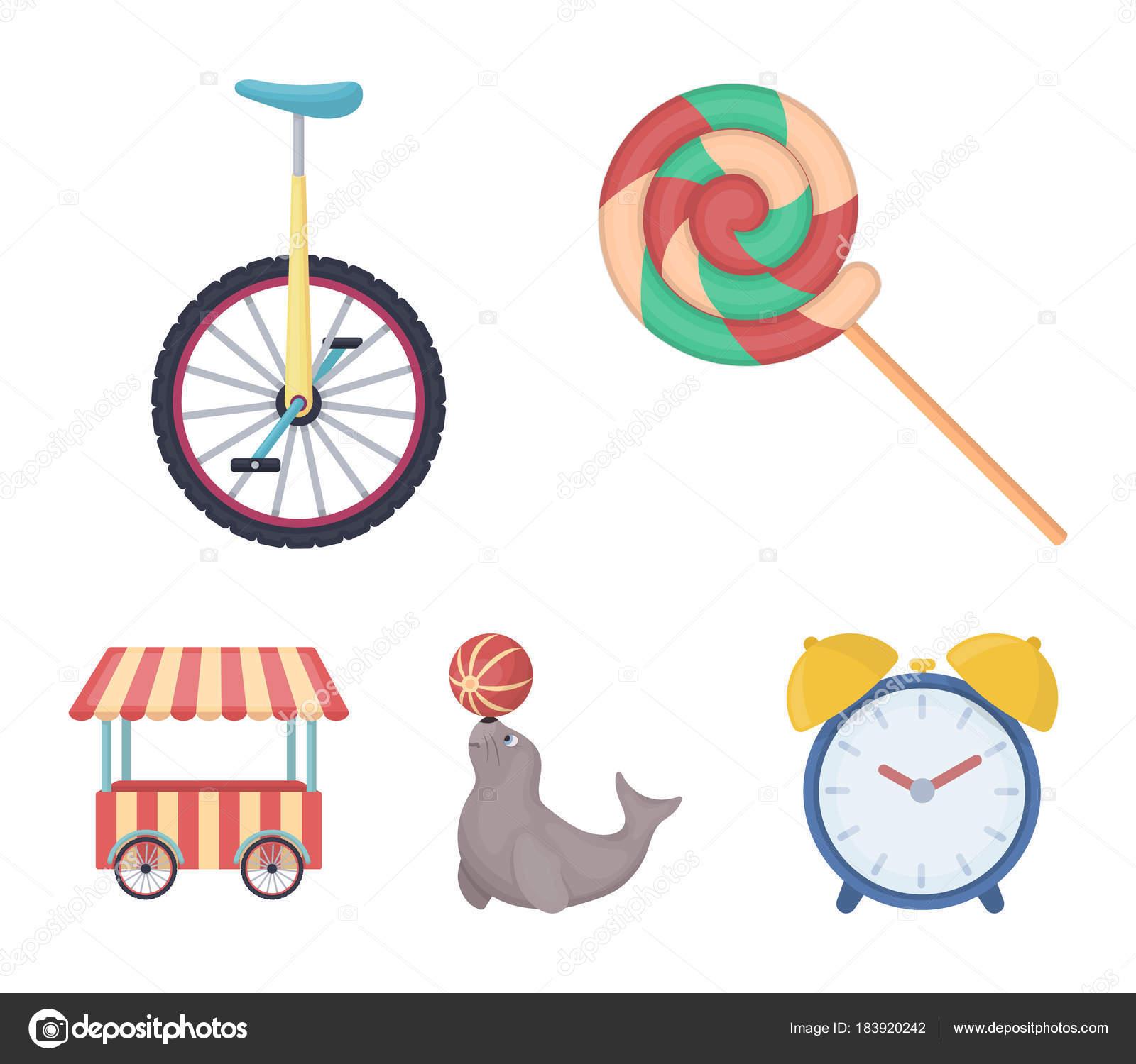 Lollipop, sello formado, merienda sobre ruedas, monociclo. Circo ...
