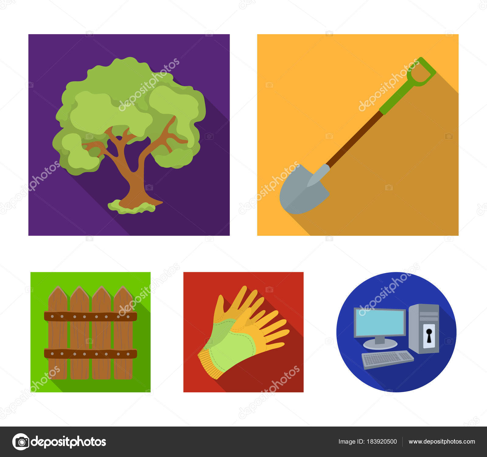 A Shovel With Handle Tree In The Garden Gloves For Working On Farm Wooden Fence And Gardening Set Collection Icons Flat Style Vector