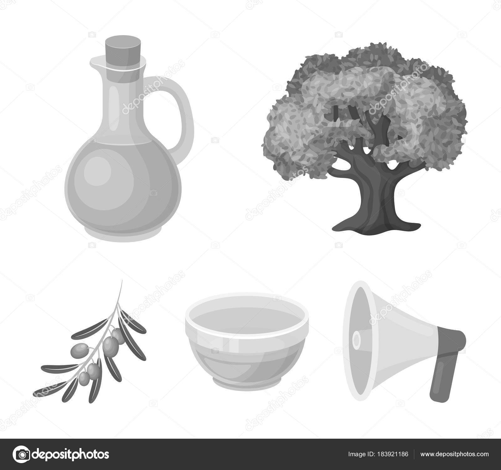 An olive tree a branch with olives a vessel and a jug of oil an olive tree a branch with olives a vessel and a jug of oil olives set collection icons in monochrome style vector symbol stock illustration buycottarizona Choice Image
