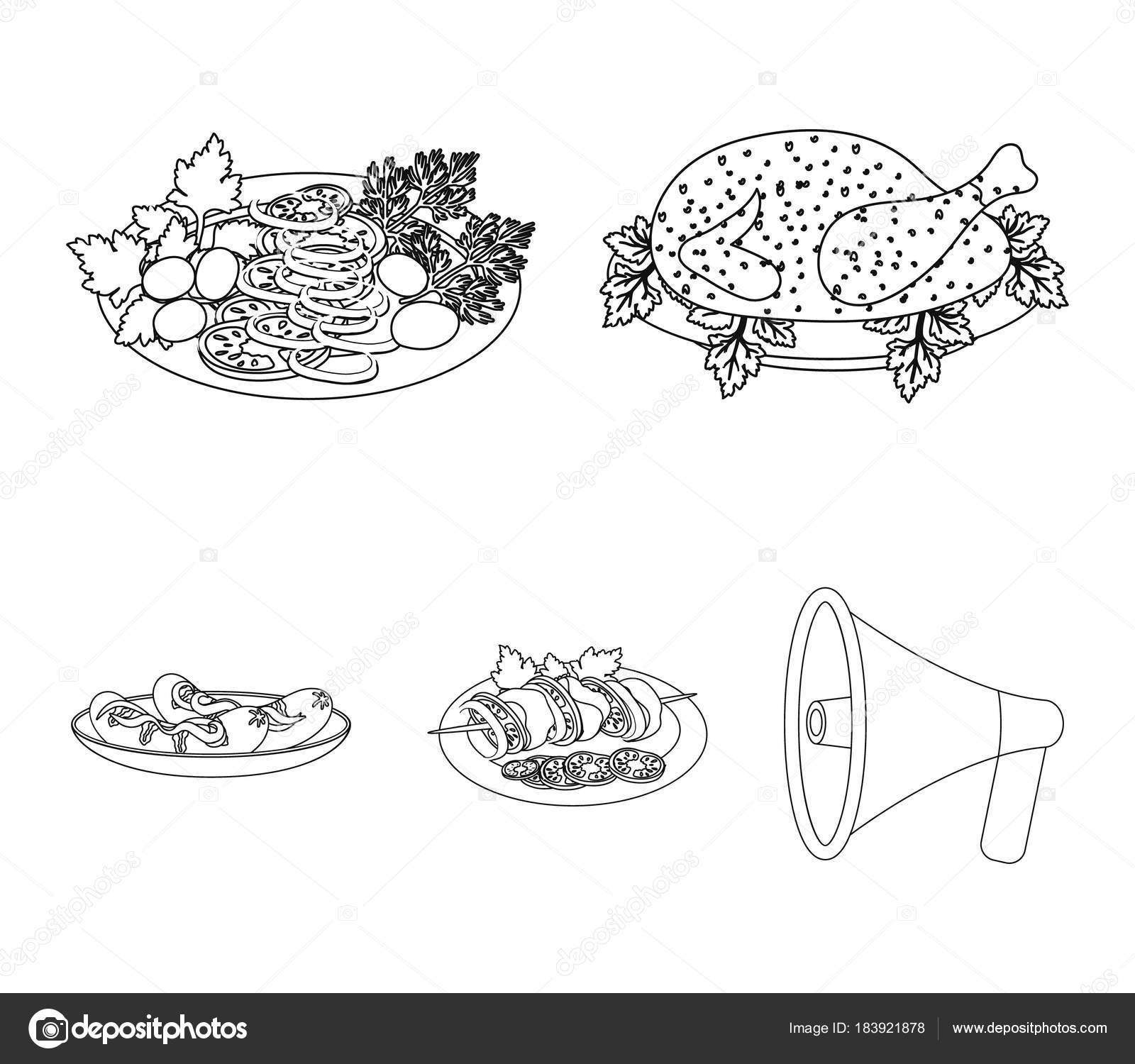 Brathähnchen, Gemüsesalat, Schaschlik mit Gemüse, gebratene ...