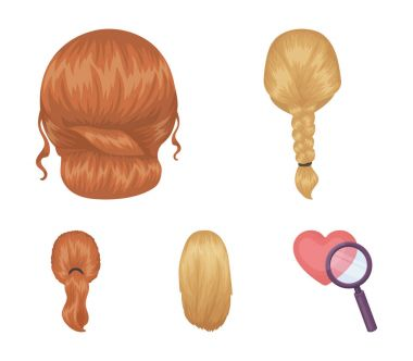 Light braid, fish tail and other types of hairstyles. Back hairstyle set collection icons in cartoon style vector symbol stock illustration web.