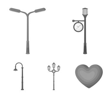 Lamppost in retro style,modern lantern, torch and other types of streetlights. Lamppost set collection icons in monochrome style vector symbol stock illustration web.
