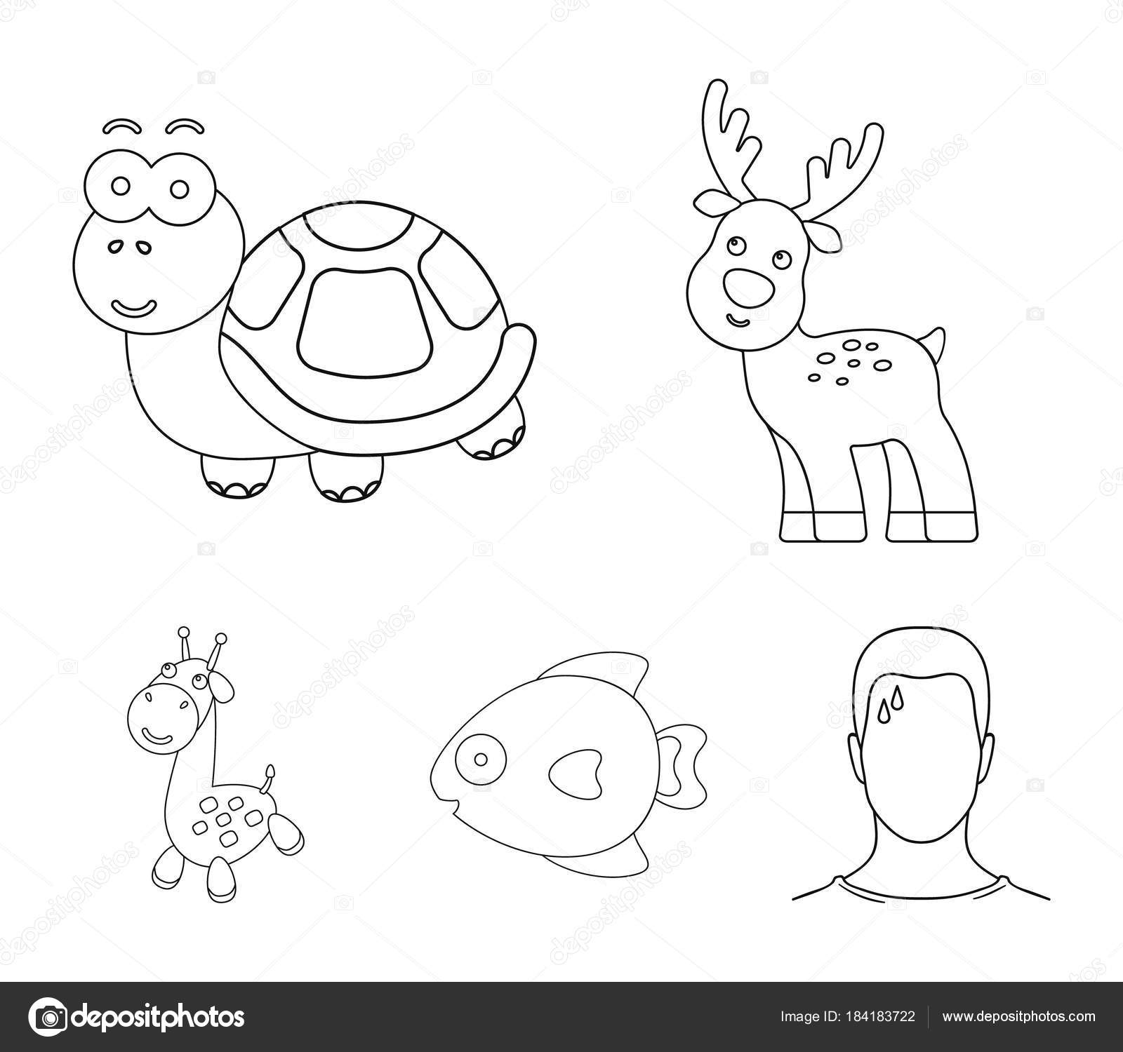 An Unrealistic Outline Animal Icons In Set Collection For Design