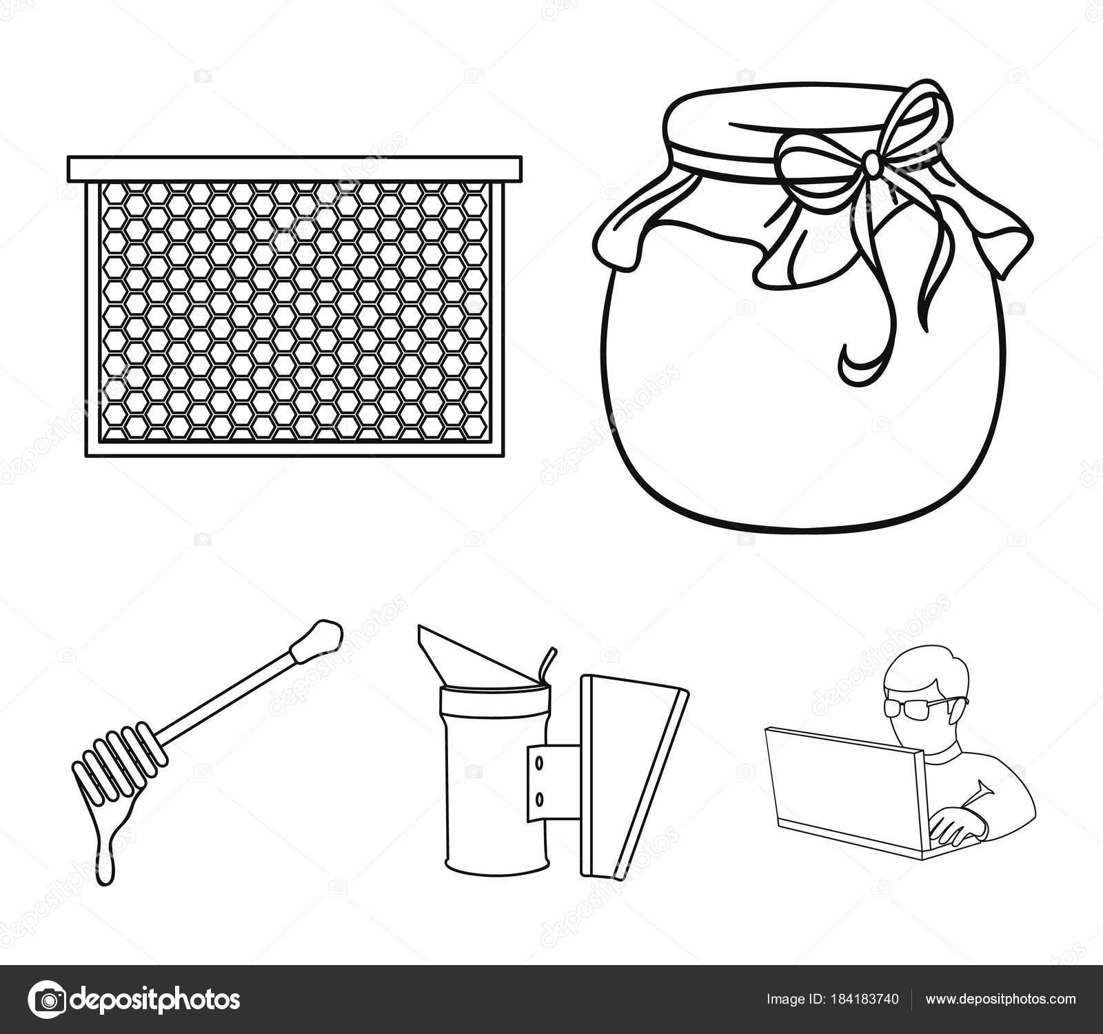 Un marco con un cucharón de la miel, un fumigador de abejas, panales ...