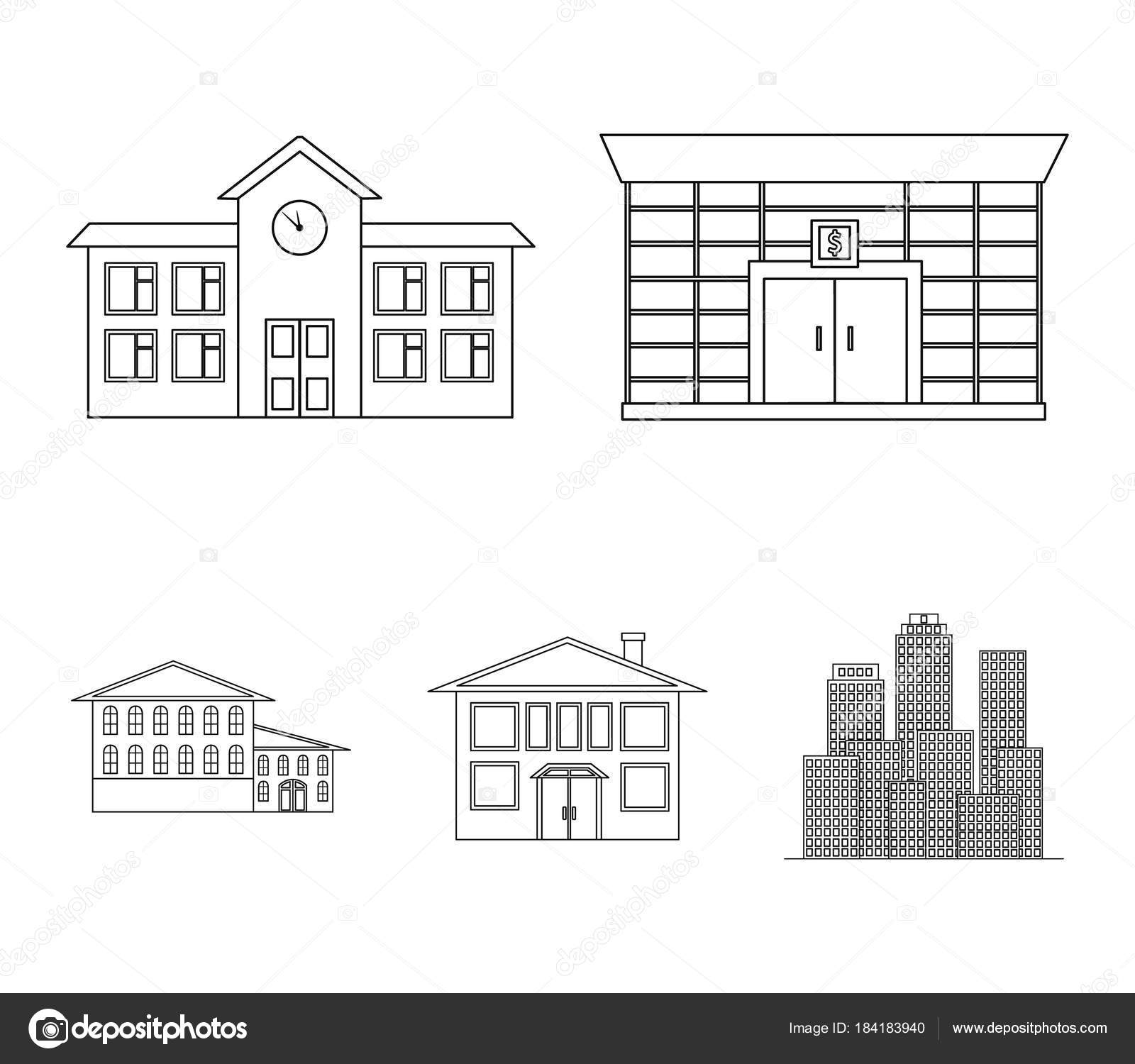 Residential Building Bank School HotelBuilding Set Collection Icons In Outline Style