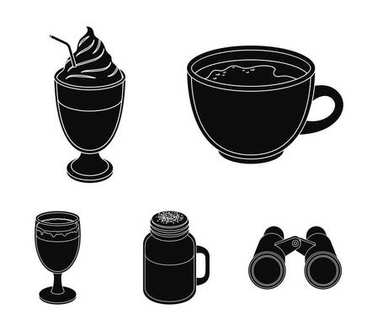 Esprecco, glase, milk shake, bicerin.Different types of coffee set collection icons in black style vector symbol stock illustration web.