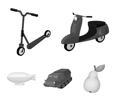 Motorcycle, scooter, armored personnel carrier, aerostat types of transport. Transport set collection icons in monochrome style vector symbol stock illustration web.