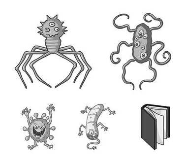 Different types of microbes and viruses. Viruses and bacteria set collection icons in monochrome style vector symbol stock illustration web.