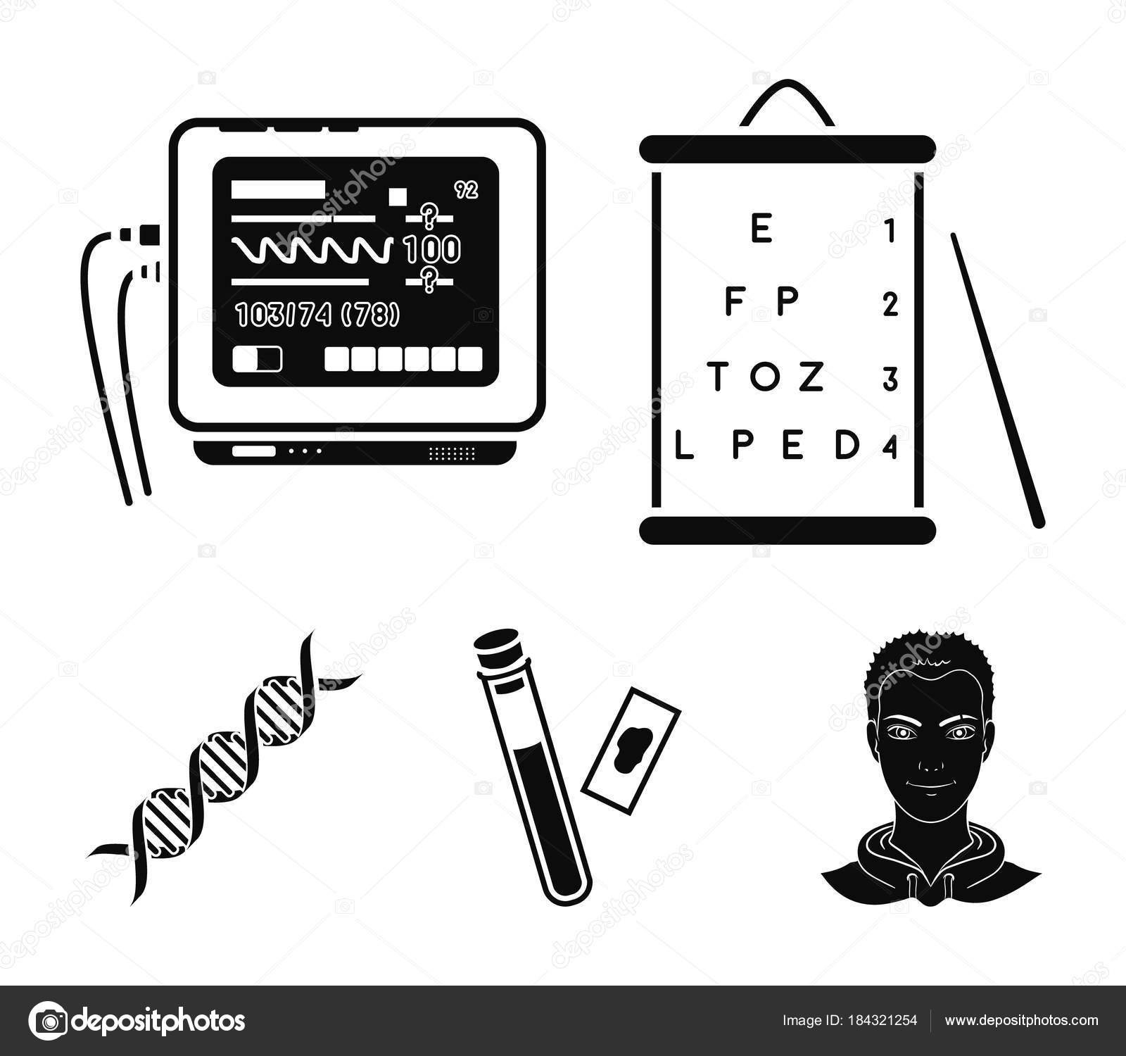 A table of vision tests a blood test a dna code an ecg a table of vision tests a blood test a dna code an ecg apparatus medicine set collection icons in black style vector symbol stock illustration buycottarizona Images