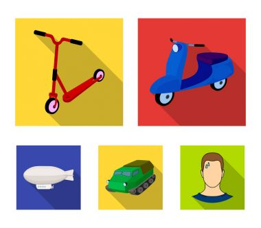 Motorcycle, scooter, armored personnel carrier, aerostat types of transport. Transport set collection icons in flat style vector symbol stock illustration web.