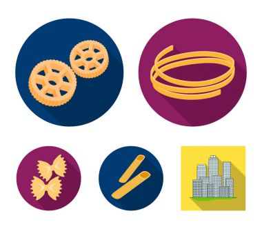 Different types of pasta. Types of pasta set collection icons in flat style vector symbol stock illustration web.