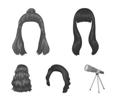 Long, red and other types of hairstyles. Back hairstyle set collection icons in monochrome style vector symbol stock illustration web.