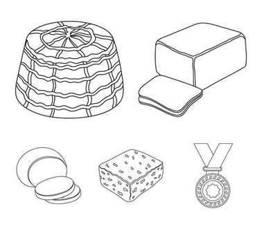 Mozzarella, feta, cheddar, ricotta.Different types of cheese set collection icons in outline style vector symbol stock illustration web.