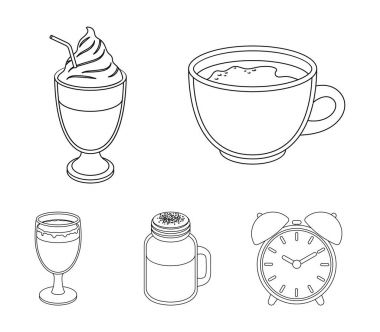Esprecco, glase, milk shake, bicerin.Different types of coffee set collection icons in outline style vector symbol stock illustration web.