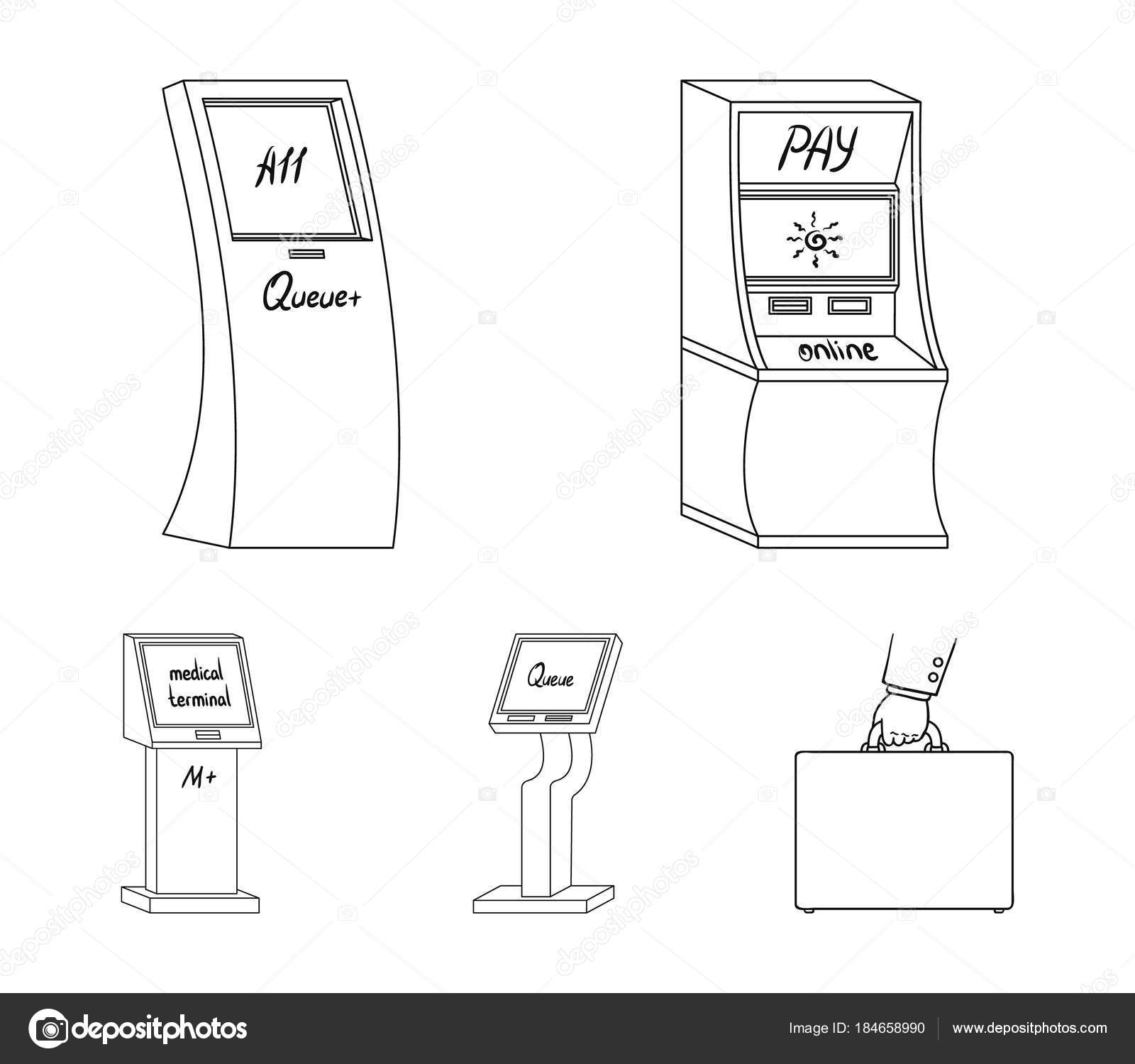Medical terminal atm for paymentapparatus for queue terminals set medical terminal atm for paymentapparatus for queue terminals set collection icons in outline style isometric vector symbol stock illustration ccuart Images