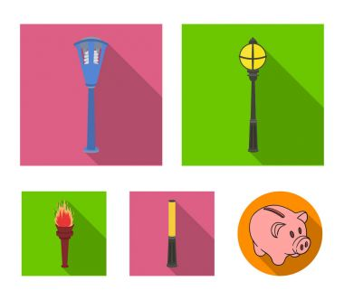 Lamppost in retro style, modern lantern, torch and other types of streetlights. Lamppost set collection icons in flat style vector symbol stock illustration web.