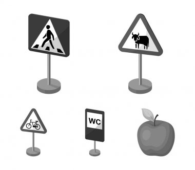 Different types of road signs monochrome icons in set collection for design. Warning and prohibition signs vector symbol stock web illustration.