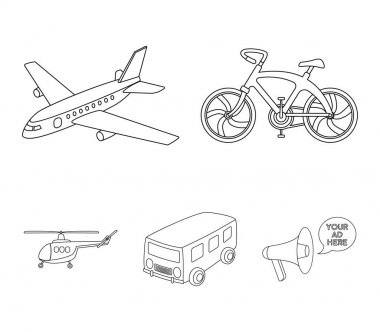 Bicycle, airplane, bus, helicopter types of transport. Transport set collection icons in outline style vector symbol stock illustration web.
