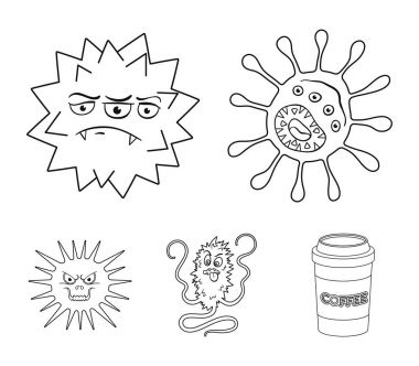 Different types of microbes and viruses. Viruses and bacteria set collection icons in outline style vector symbol stock illustration web.