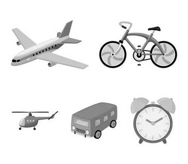 Bicycle, airplane, bus, helicopter types of transport. Transport set collection icons in monochrome style vector symbol stock illustration web.