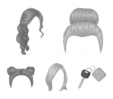 Blond with a bunch, red wavy and other types of hair. Back hair set collection icons in monochrome style vector symbol stock illustration web.