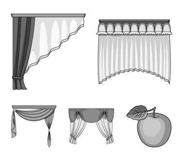 Different types of window curtains.Curtains set collection icons in monochrome style vector symbol stock illustration web.