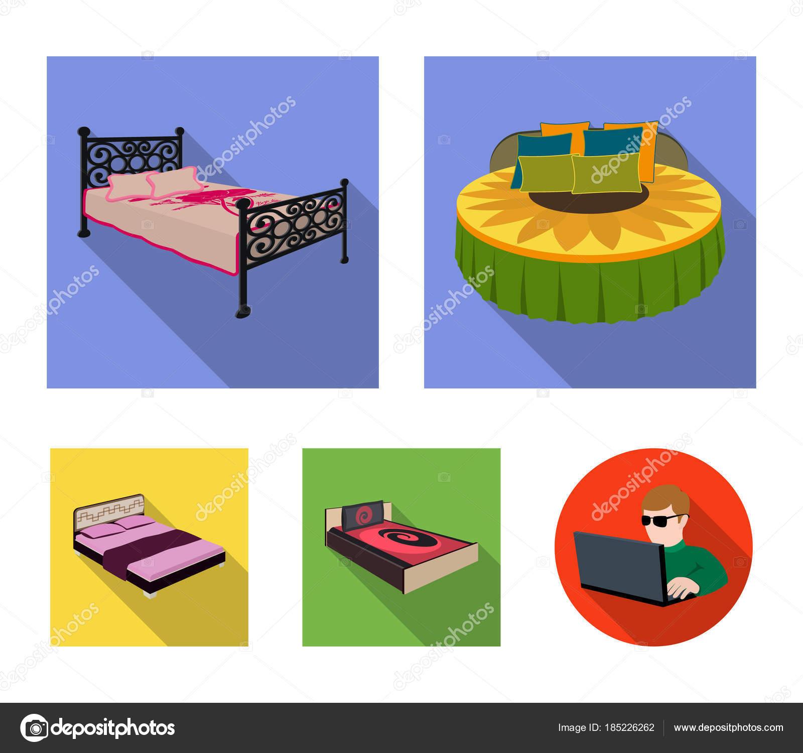Diferentes camas planas iconos de colección set de diseño. Muebles ...
