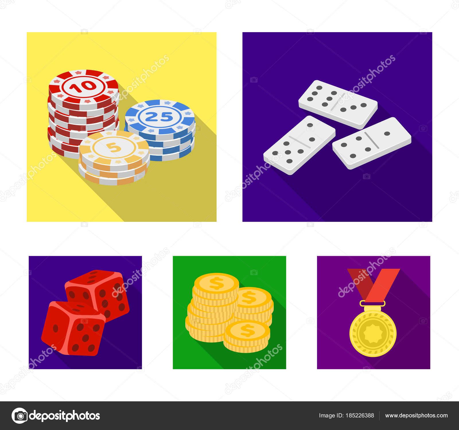 aa460737077 フラット スタイル ベクトル シンボル ストック イラスト web でカジノとギャンブルのセットのコレクション アイコン. — ベクター PandaVector