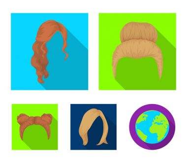 Blond with a bunch, red wavy and other types of hair. Back hair set collection icons in flat style vector symbol stock illustration web.