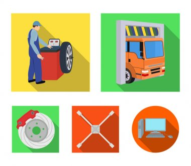 Wheel balancing, spanner and brake disc flat icons in set collection for design.Car maintenance station vector symbol stock illustration web.
