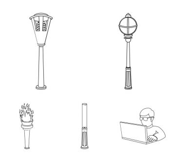 Lamppost in retro style, modern lantern, torch and other types of streetlights. Lamppost set collection icons in outline style vector symbol stock illustration web.