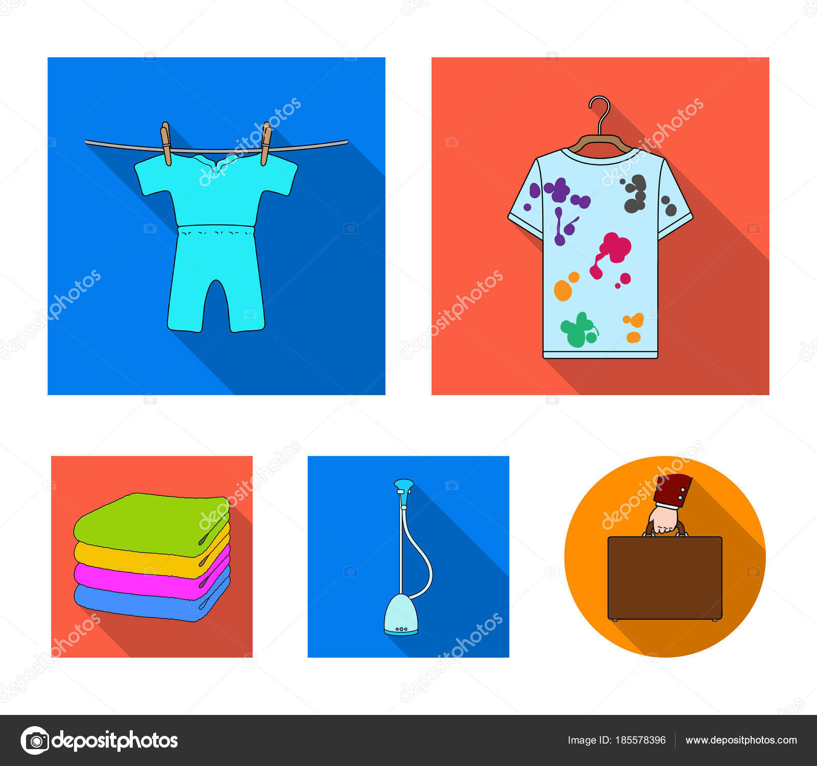 Vacuum cleaner a stack of cloth dirty and clean things dry vacuum cleaner a stack of cloth dirty and clean things dry cleaning set collection icons in flat style vector symbol stock illustration biocorpaavc Choice Image