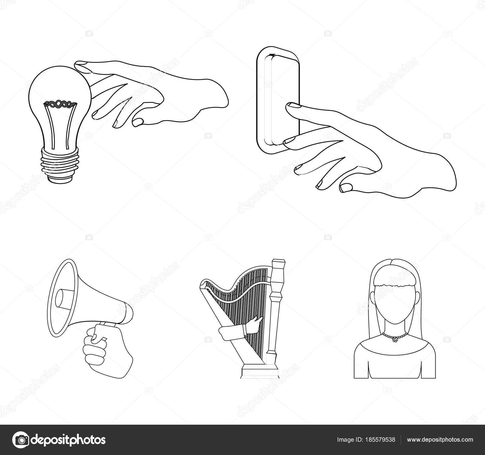 Elektrische Schalter, Glühlampe und andere Web-Symbol im Umriss-Stil ...