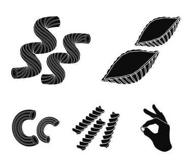 Different types of pasta. Types of pasta set collection icons in black style vector symbol stock illustration web.