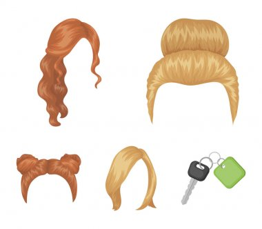 Blond with a bunch, red wavy and other types of hair. Back hair set collection icons in cartoon style vector symbol stock illustration web.