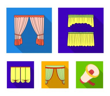 Different types of window curtains.Curtains set collection icons in flat style vector symbol stock illustration web.