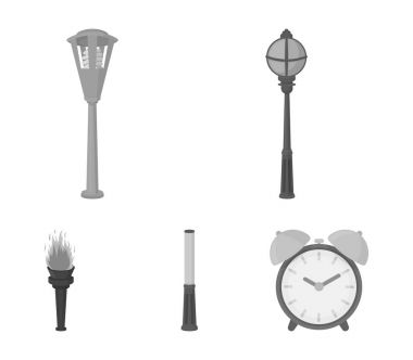 Lamppost in retro style, modern lantern, torch and other types of streetlights. Lamppost set collection icons in monochrome style vector symbol stock illustration web.
