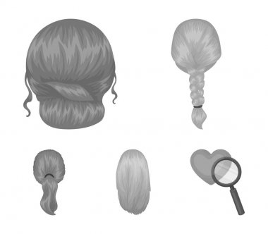 Light braid, fish tail and other types of hairstyles. Back hairstyle set collection icons in monochrome style vector symbol stock illustration web.