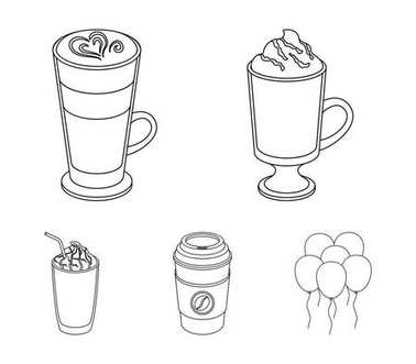 Mocha, macchiato, frappe, take coffee.Different types of coffee set collection icons in outline style vector symbol stock illustration web.