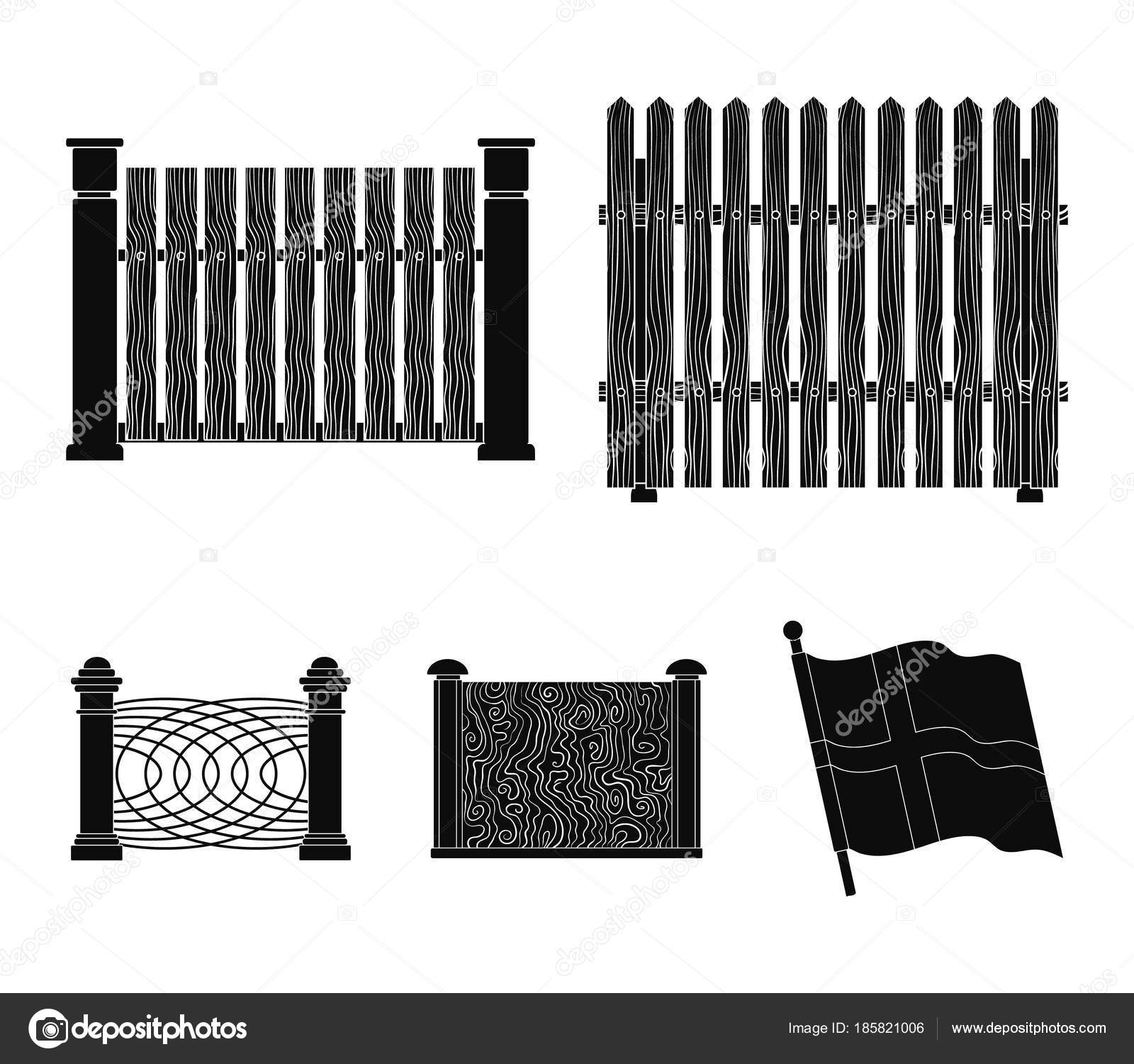 Ein Zaun Aus Metall Und Ziegel Holzerne Palisade Ein Anderer Zaun