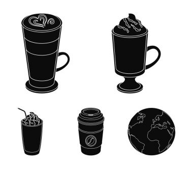 Mocha, macchiato, frappe, take coffee.Different types of coffee set collection icons in black style vector symbol stock illustration web.