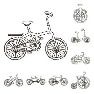 Various bicycles outline icons in set collection for design. The type of transport vector symbol stock web illustration.