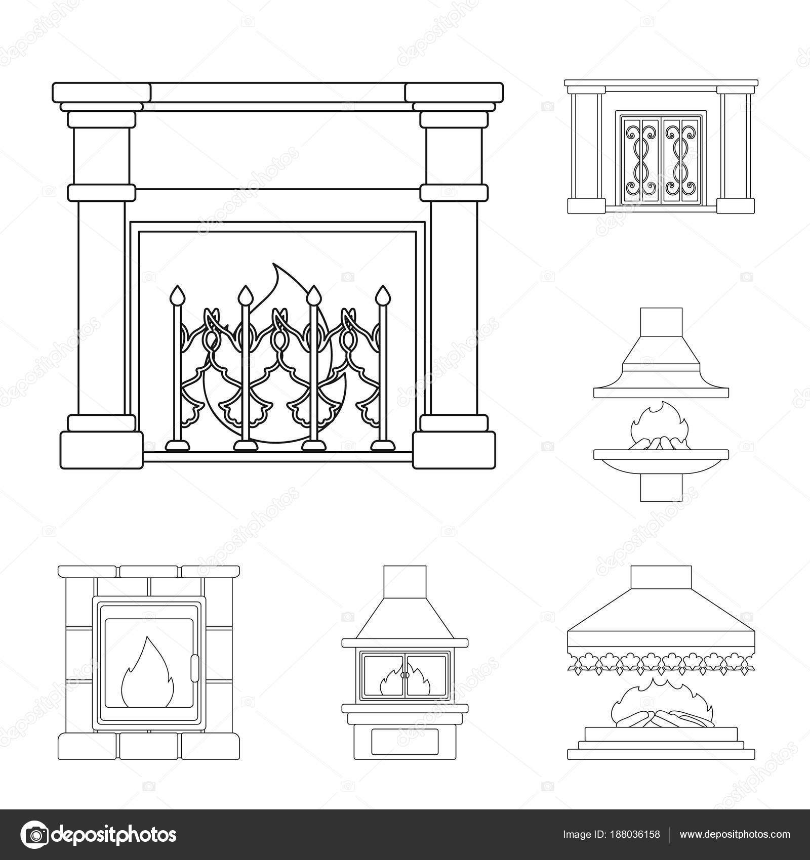 Different Kinds Of Fireplaces Outline Icons In Set Collection For