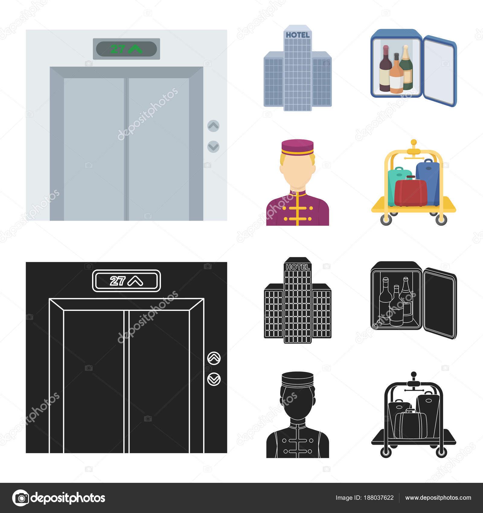 Asansör kabini, Bina personel bar, mini. Otel çizgi film, siyah stil ...