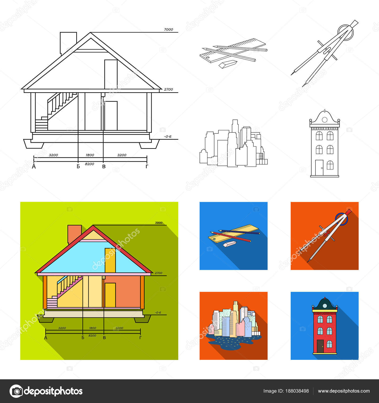 Drawing accessories metropolis house model architecture set drawing accessories metropolis house model architecture set collection icons in outlineflat ccuart Gallery