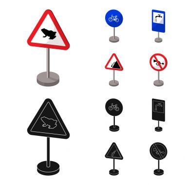 Different types of road signs cartoon,black icons in set collection for design. Warning and prohibition signs vector symbol stock web illustration.