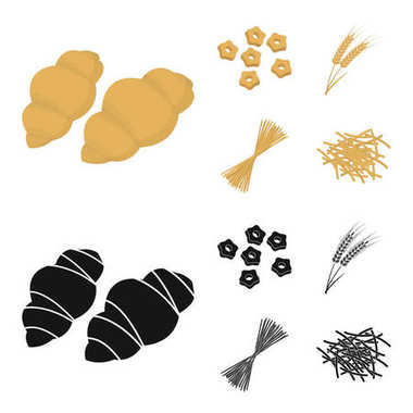 Different types of pasta. Types of pasta set collection icons in cartoon,black style vector symbol stock illustration web.