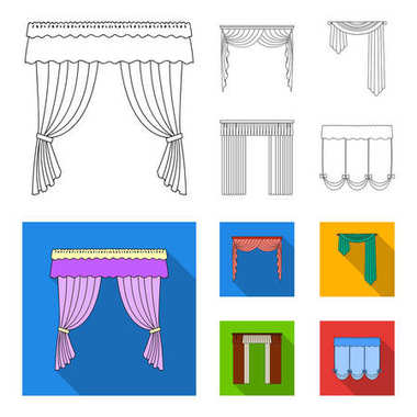 Different types of window curtains.Curtains set collection icons in outline,flat style vector symbol stock illustration web.